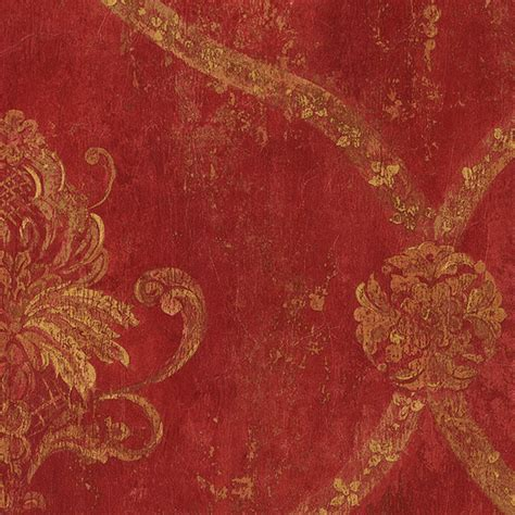 red damask wallpaper home decor regal damask red tan ochre terra cotta cs27328 double