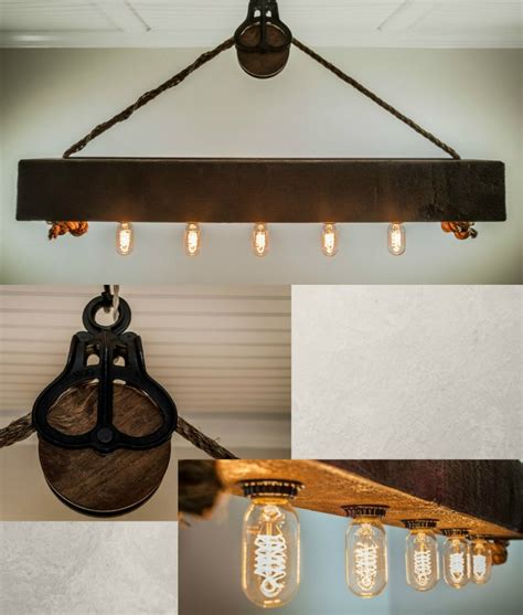 wood beam chandelier rustic wood beam chandelier with edison bulbs rope and pulley