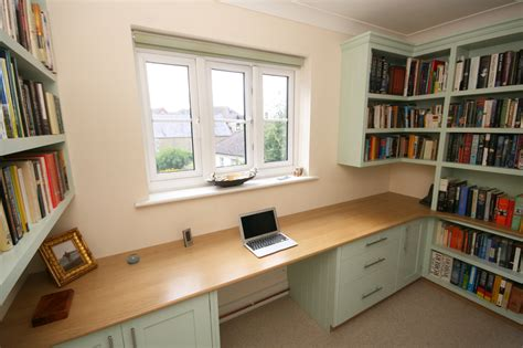 home library office valspar paint kitchen cabinets bespoke hand painted home office with oak desk enlargement 3