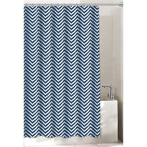 chevron shower curtain in navy bed bath beyond