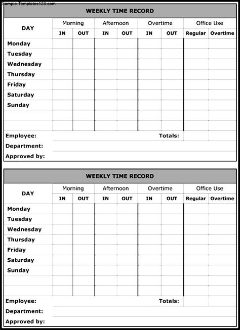 weekly time record form template sle templates