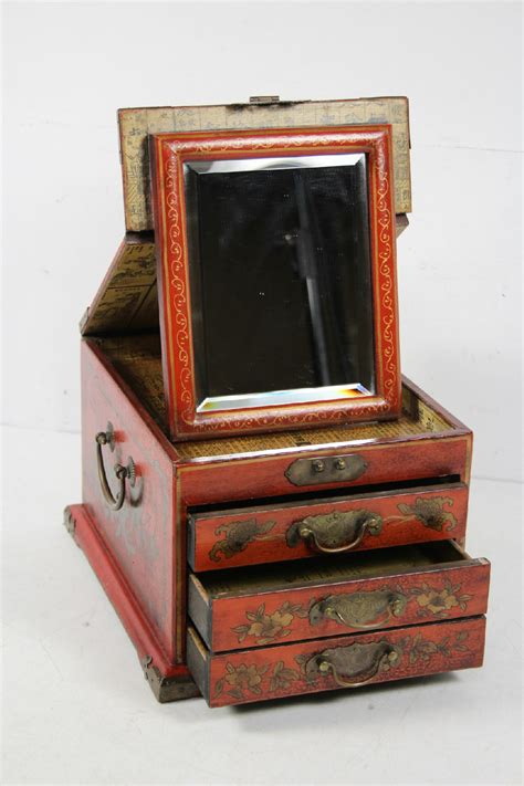 lacquer asian wooden jewelry box with stand up mirror