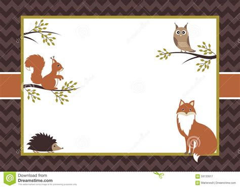 animal card template woodland card stock vector illustration of invitation