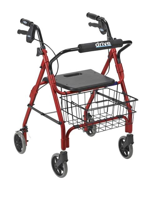 drive rollator drive deluxe aluminum rollator with seat basket by drive