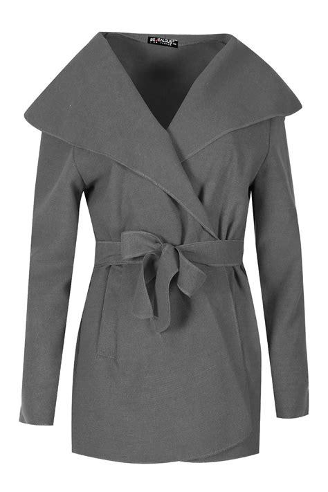 Blazer Fleece Womens Italian Blazer Sleeve Belted Fleece