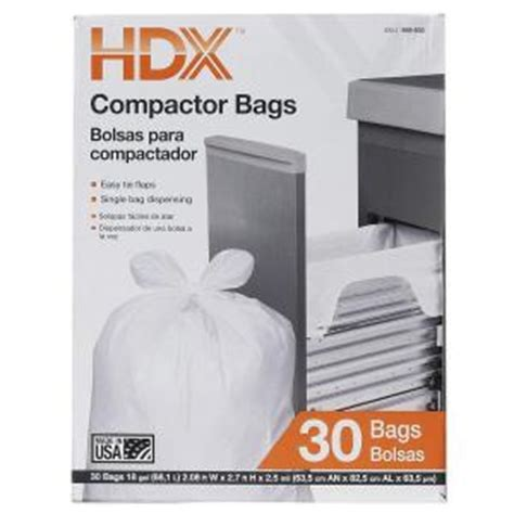 Home Depot Kitchen Garbage Bags Hdx 18 Gal Compactor White Trash Bags 30 Count Hdx