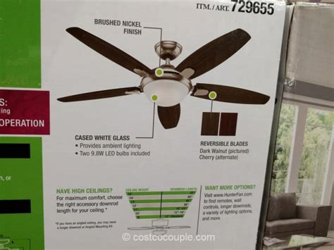 costco hunter ceiling fan hunter designer series 54 inch contempo ceiling fan