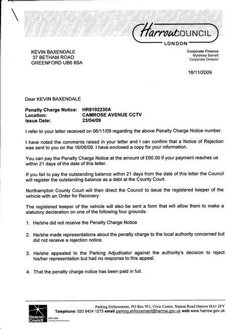 received penalty notice harrow council