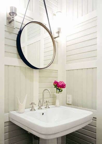 hanging leather mirror transitional bathroom thom filicia