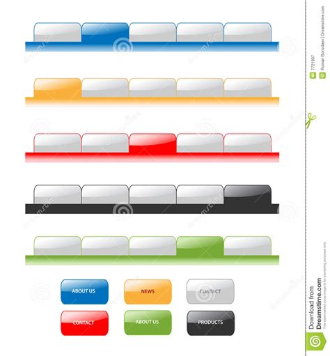 web navigation blank tabs buttons gradient vector