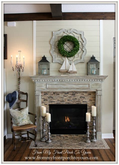 farmhouse fireplace mantel from my front porch to yours simple nautical summer mantel
