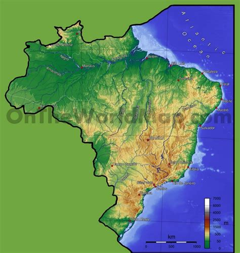 geographical map of brazil brazil physical map