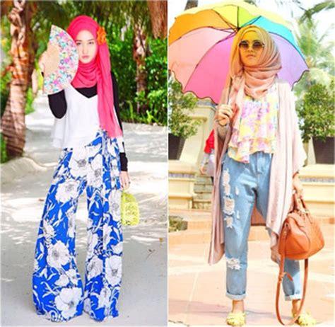 tutorial hijab untuk santai liburan outfit ke pantai hijab
