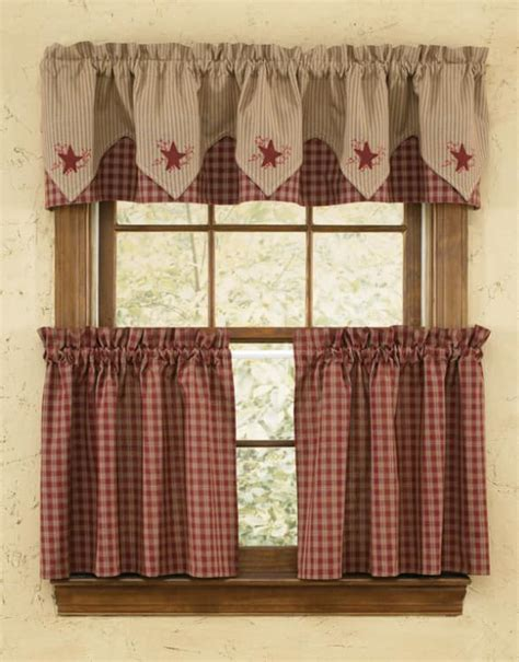 Sturbridge Star Embroidered Lined Point Curtain Valances