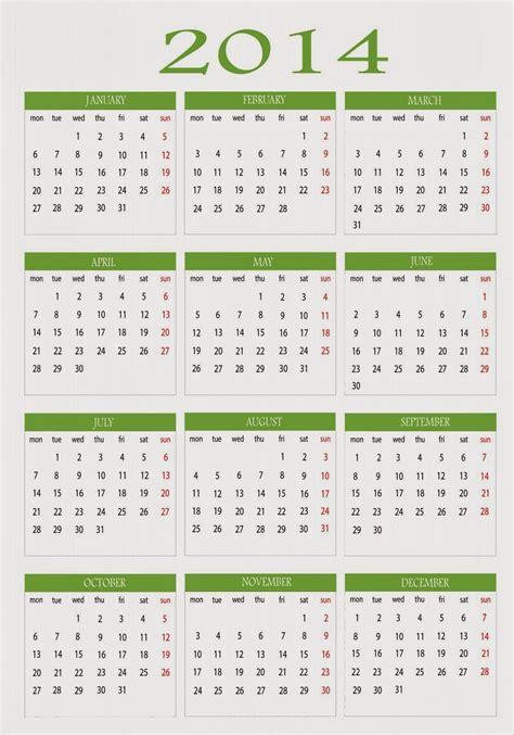 2014 Calendar Printable Free Printable Calendar 2016