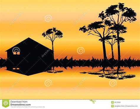 house  tree silhouette stock vector illustration