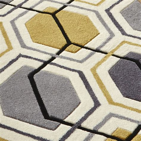 gray yellow rug geometric hexagon design rug hong kong tufted 100 acrylic mat grey yellow ebay