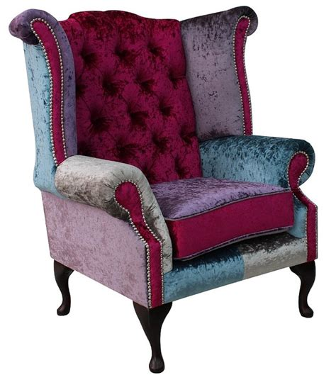 Patchwork Wingback Chair - chesterfield patchwork velvet wing chair shimmer