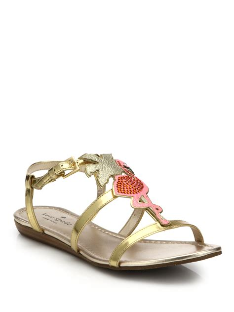 Genevieve Sandals By Kate Spade by Kate Spade Tammy Flamingo Paneled Metallic Leather
