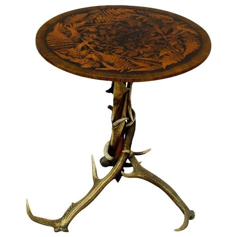 Antler Table L Antique Occasional Antler Table With Inlays For Sale At 1stdibs
