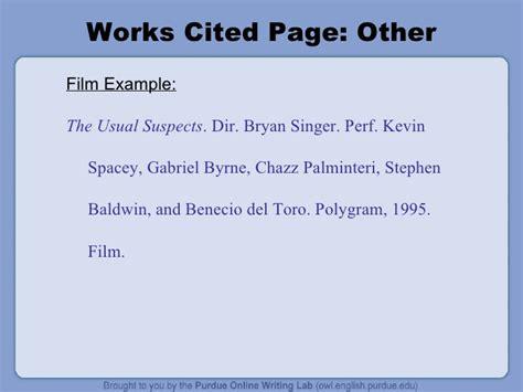film mla citation exle the owl mla formatting power point