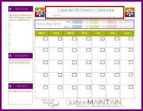 Exercise Calendar New And Improved Printable Fitness Calendar Weigh To