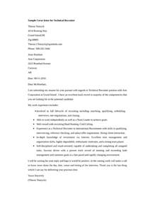 recruiter cover letter basic technical recruiter cover letter sles and templates
