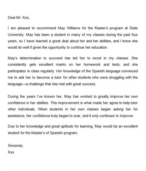 Recommendation Letter Template Graduate letters of recommendation for graduate school 15