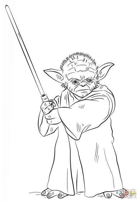 printable coloring pages wars yoda with lightsaber coloring page free printable