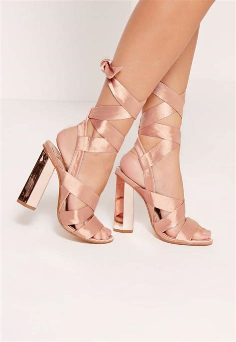 light pink tie up heels block heel tie satin sandals gold missguided