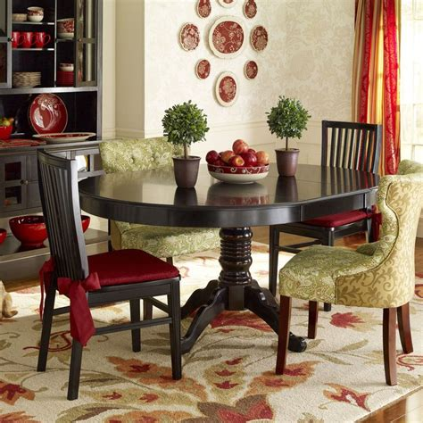 Ronan Rubbed Black Dining Red Accents And Accent