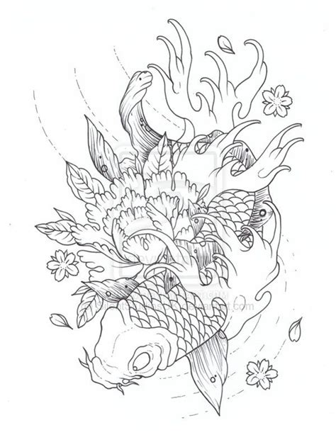 koi fish tattoo outline designs koi outline by silentstudiosuk deviantart on