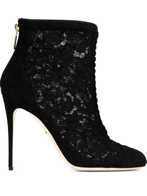 dolce and gabbana boots dolce gabbana lace and suede ankle boots in black lyst
