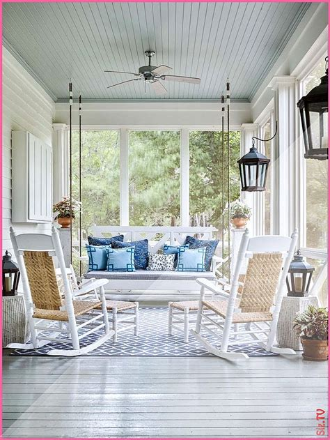 classic southern screen porch  light blue ceiling blue