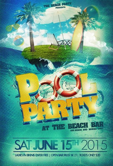flyer template psd pool party beach 187 nitrogfx