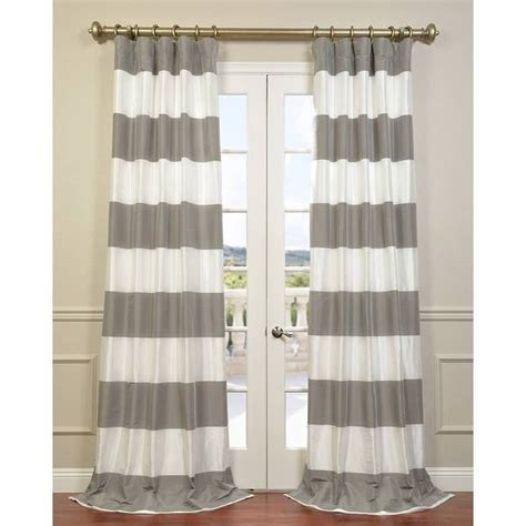 cabana curtains eff pewter and ice cabana stripe faux silk taffeta curtain