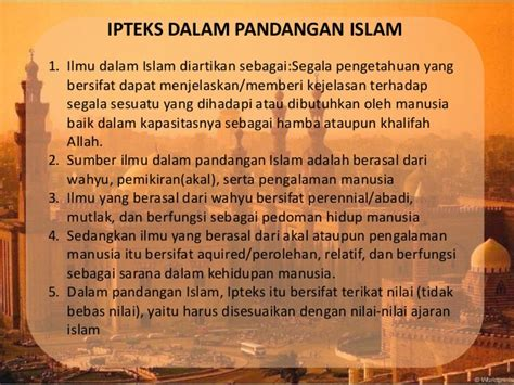 iptek  seni pend agama islam