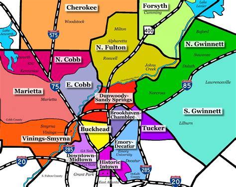 map of atlanta area atlanta areas atlanta townhomes