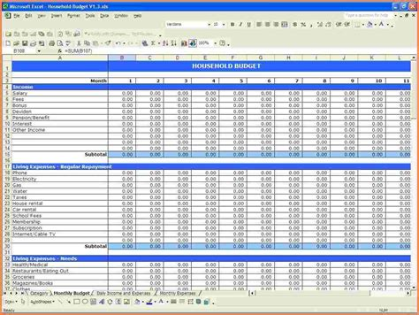 monthly income and expense template simple income expense
