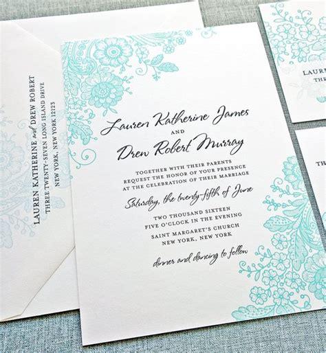 teal lace wedding invitation sle custom wedding