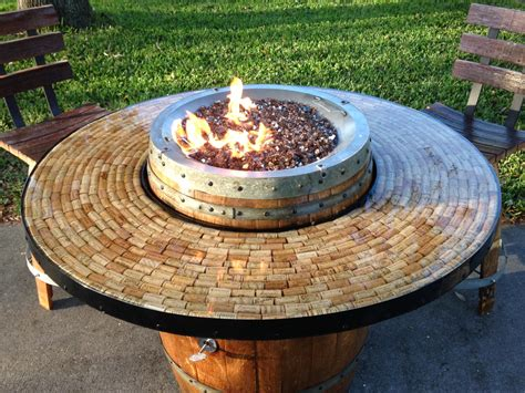 wine barrel gas pit and patio table