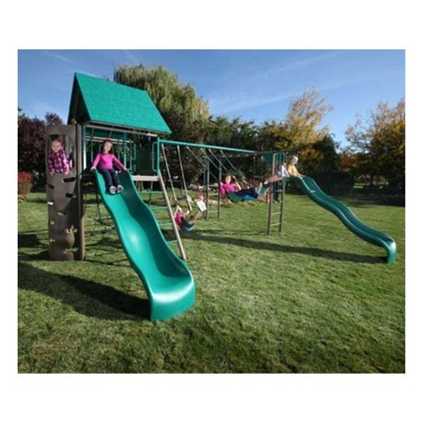 lifetime swing sets lifetime double slide deluxe playset earthtone 90240