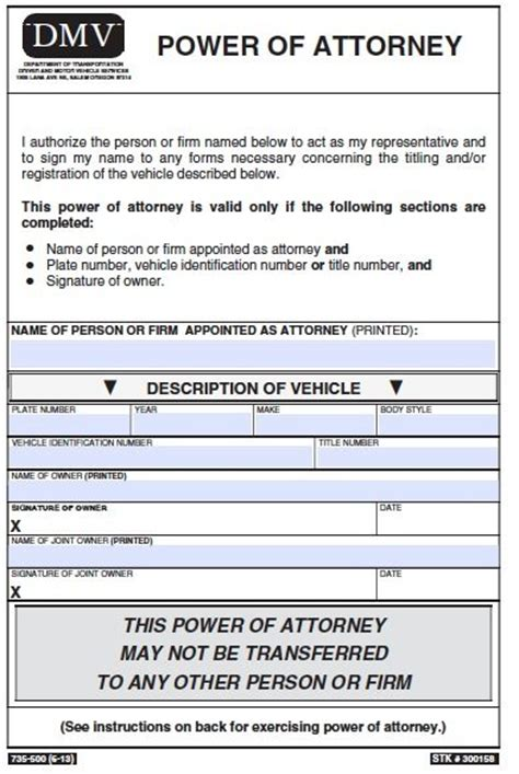 Free Vehicle Power Of Attorney Oregon Form Pdf Template Power Of Attorney To Sell A Car Template