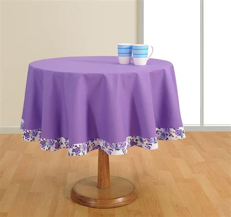 round table cover duck cotton 60 inch diameter purple