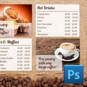a cafe coffee shop style digital menu board photoshop