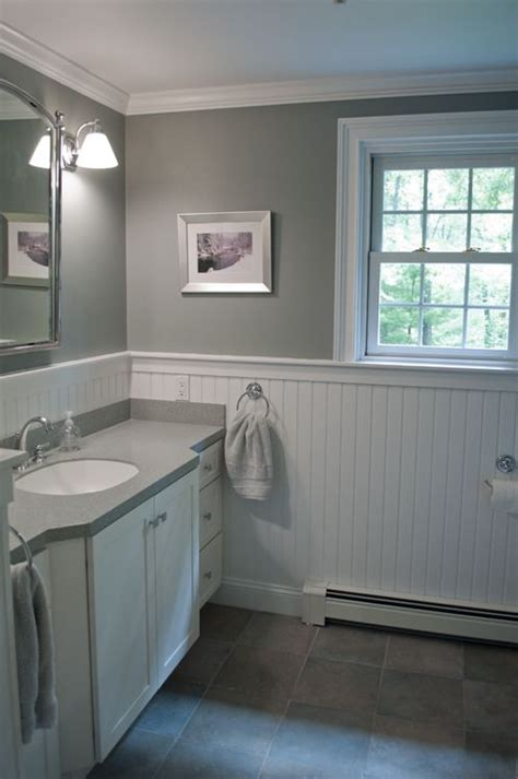 New England Bathroom Design Custom By Pnb Porcelain Gray Walls White Wainscoting