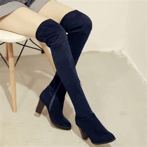 flock stretch the knee high boots thin leg beautiful