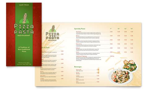 restaurant brochure templates italian pasta restaurant take out brochure template word