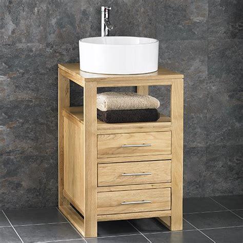 oak bathroom sink cabinets clickbasin cube solid oak 50cm wide three drawer single