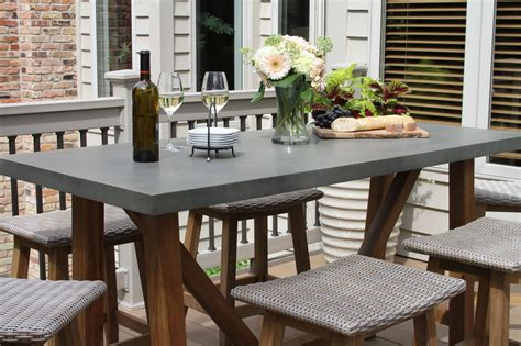 counter height outdoor table composite counter height dining table with teak base